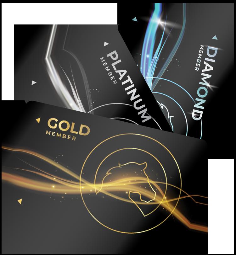 Golden Pony Casino Player's Club Tier Cards